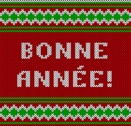 Knitted Lettering. Happy New Year. Text in French. Imitation knitting fabric. Multicolor knitting - letters and ornament. 写真素材