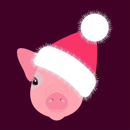 Pig, piglet. Head in the New Years hat. Face. Vector illustration. Nice style. Chinese New Year. Symbol of 2019. Stockfoto