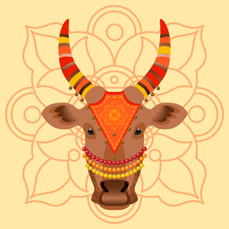 Maatu Pongal. Hindu harvest festival in India and Sri Lanka. The concept of the event. The head of a cow, decorated with cloth with embroidery, beads, bells. Background with traditional ornament