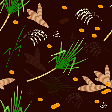 Pongal Hindu harvest festival in India and Sri Lanka. The concept of the event. Seamless pattern. Plants Sugarcane, turmeric, rice