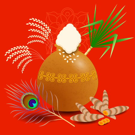 Pongal Hindu harvest festival in India and Sri Lanka. The concept of the event. Ceramic pot kolam with boiled rice. Peacock feather, Plants Sugarcane, turmeric, rice, ornament
