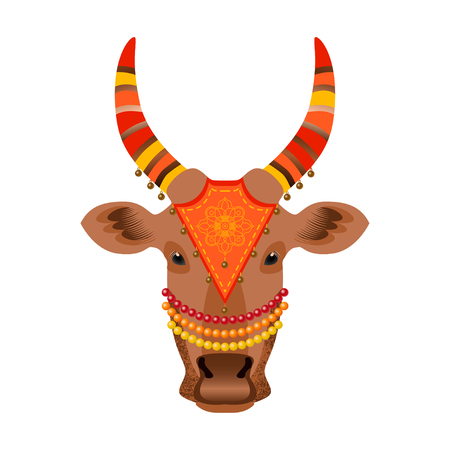 Maatu Pongal. Hindu harvest festival in India and Sri Lanka. The concept of the event. The head of a cow, decorated with cloth with embroidery, beads, bells