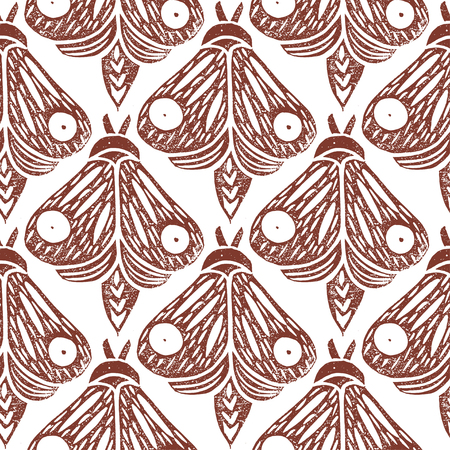 Butterflies. Seamless pattern. Linocut handmade vector illustration. Rust color. Isolated on white