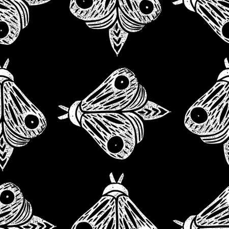 Butterflies. Seamless pattern. Linocut handmade vector illustration. White isolated on black