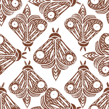 Butterflies. Seamless pattern. Linocut handmade vector illustration. Rust color. Isolated on white. Rotate Pattern Elements