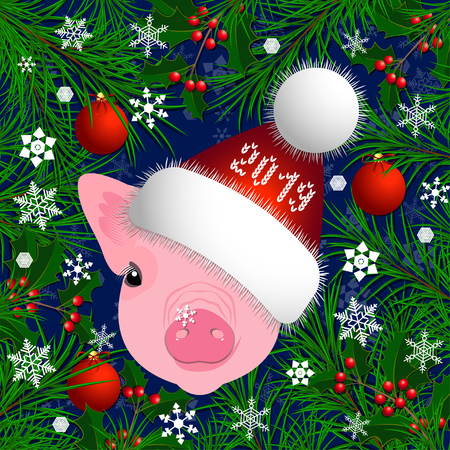 Portrait of a pig. Head in the New Years hat. The frame of the branches of the Christmas tree and holly. Christmas toys, snowflakes. Vector illustration. Nice style Chinese New Year Symbol of 2019