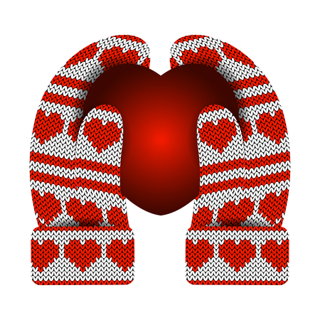 Valentines Day. Hands in knitted mittens hold a luminous heart. Knitting Pattern of hearts and stripes. White and red. Illustration