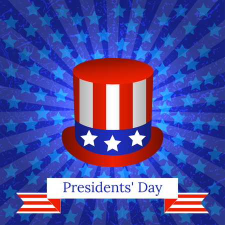 Presidents Day. The concept of a national holiday in the United States. Top hat with USA flag symbols. Background with rays and stars. Grunge texture. Ribbon with the name of the event