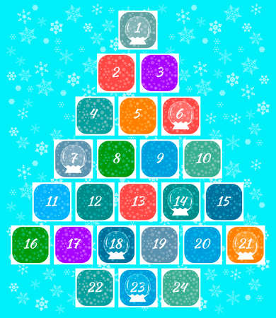 Christmas advent calendar. Multi-colored windows with numbers of December days and snow balls. Snowflakes Background