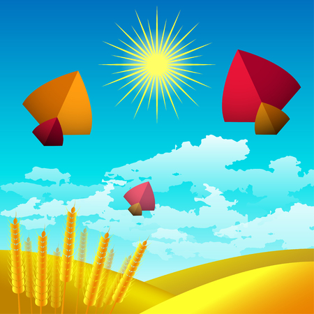 Makar Sankranti. Kite festival in India. Winter Solstice Harvest Festival. Landscape with sky, sun and clouds. Yellow wheat fields, wheat ears. In the sky flying kites