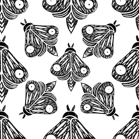 Butterflies. Seamless pattern. Linocut handmade vector illustration. Black color. Isolated on white