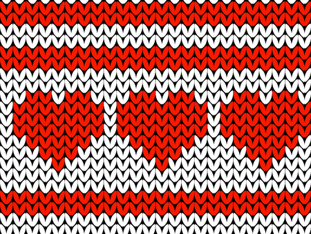 Valentines Day. Knitted Pattern of hearts and stripes. White and red. Seamless pattern Illustration