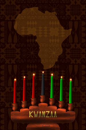 Kwanzaa. Concept of an African American festival in the United States. Kinara - wooden candle holder and 7 candles of traditional colors. Continent of Africa, ethnic patterns on the background