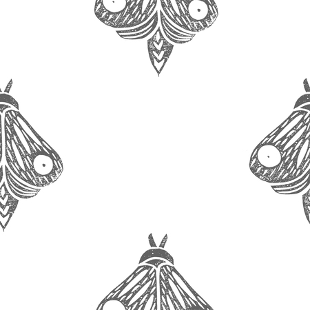 Butterflies. Seamless pattern. Linocut handmade vector illustration. Gray color. Isolated on white