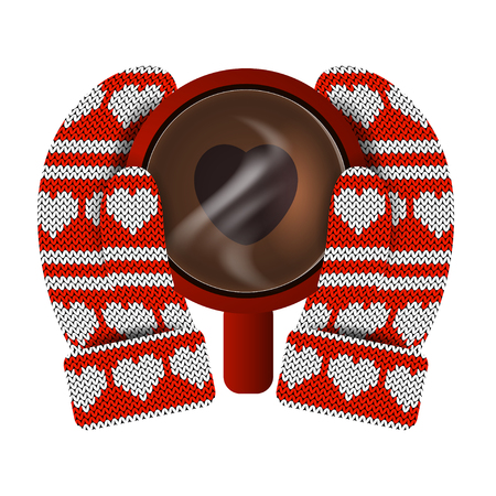 Valentines Day. Hands in knitted mittens hold a red mug with hot coffee. Heart shaped coffee foam. Knitting Pattern of hearts and stripes. White and red