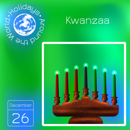 Kwanzaa. African American festival in the United States. Kinara and 7 candles of traditional colors. Calendar. Holidays Around the World. Green blur background - name, date illustration
