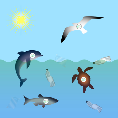 Animals affected by microplastic water contamination. Stop plastic pollution. Rumpled Plastic dishes and bags, Fish, dolphin, seagull, sea turtle, microplastics in sea