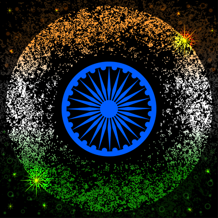 Republic Day in India. The concept of a national holiday. The symbols of the Indian flag are the blue wheel and the colors are saffron, white, green. Grunge background, stars, glow