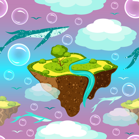Childrens fantastic pattern. Flying islands and whales. Islands, whales, birds, bubbles fly or float in the sky. On the islands of grass, a tree, a river. Purple blue background