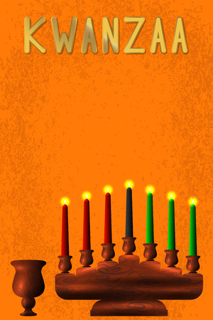 Kwanzaa. Concept of an African American festival in the United States. Kinara - wooden candle holder and 7 candles of traditional colors, bowl Illustration