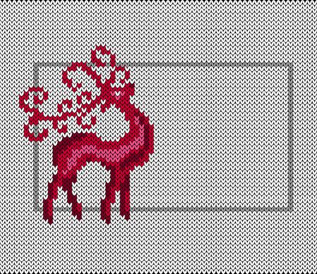 Santa Claus deer. Imitation knitted fabric. New Year, Christmas, Winter Holidays. Banner invitation flyer. Horizontal layout