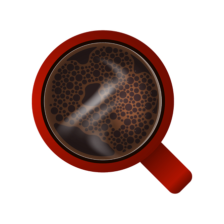 Red mug with hot coffee. View from above. Texture of coffee foam with bubbles and steam. Isolated on white