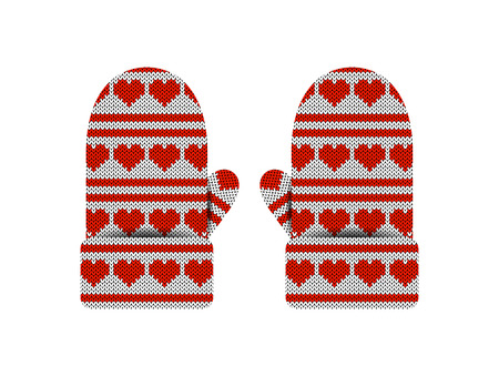 Valentines Day. Knitted mittens. Pattern of hearts and stripes. White and red