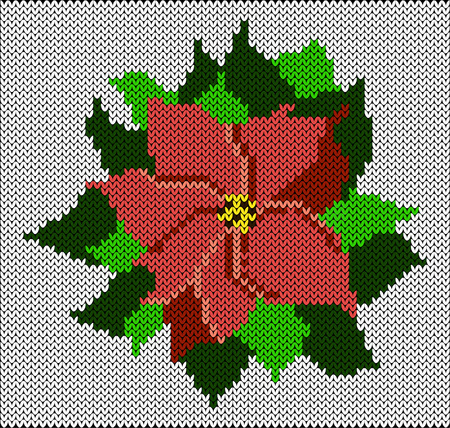 Poinsettia Imitation knitted fabric. New Year, Christmas, Winter Holidays. Banner invitation flyer