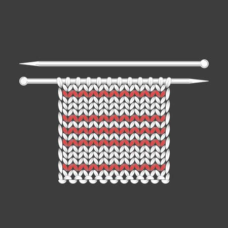 Knitting. The process of knitting, texture loops, knitting needles. Handicraft, handmade hobby Gray background