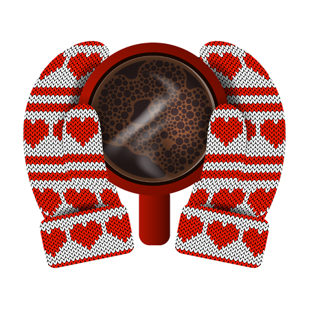 Valentines Day. Hands in knitted mittens hold a red mug with hot coffee. Knitting Pattern of hearts and stripes. White and red Illustration