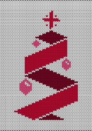 Christmas tree with toys and a star. Origami style. Imitation knitted fabric. New Year, Christmas, Winter Holidays. Banner invitation flyer