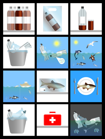 Emergence of microplastics. Harm to nature and human. History in pictures. Infographics. Plastic dishes and bags, sea, sun, animals, food, waste, medical assistance