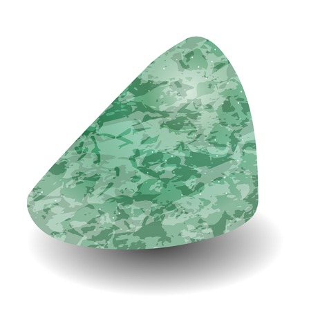 Aventurine. Rounded triangular shape. Precious stone, gemstone, mineral. Translucent raw piece of stone. Texture of layers and facets of stone. Geology mining science jewelry background  イラスト・ベクター素材