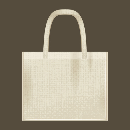 Canvas cotton textiles eco bag. Natural color. Stop plastic pollution. Grunge texture 矢量图像