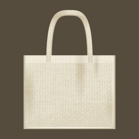 Canvas cotton textiles eco bag. Natural color. Stop plastic pollution. Grunge texture Illustration