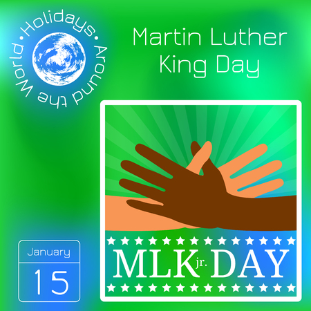 Martin Luther King Day. Multicolored hands reach for a handshake Illustration