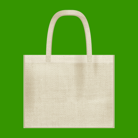Canvas cotton textiles eco bag. Natural color. Stop plastic pollution. Grunge burlap texture Illustration