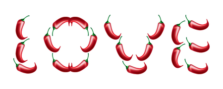 Valentines Day. Word Love from chili peppers. Realistic spice illustration Ilustração