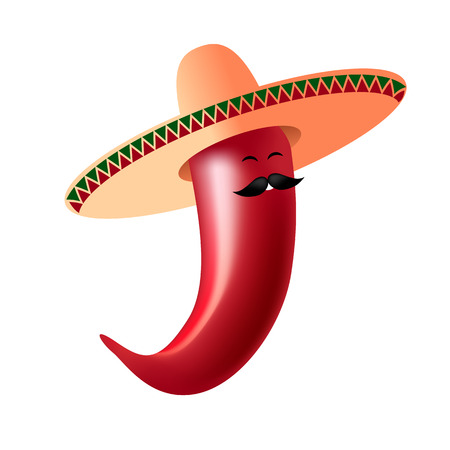 Chili pepper - Mexican with a mustache and in a sombrero