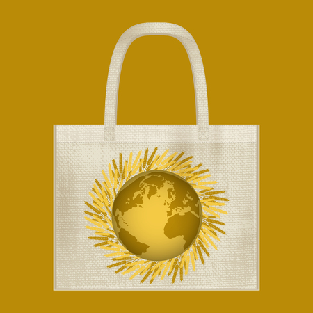 Canvas cotton textiles eco bag. Harvest, wheat, Earth. Natural color. Stop plastic pollution. Grunge burlap texture Vettoriali
