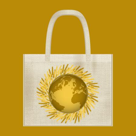 Canvas cotton textiles eco bag. Harvest, wheat, Earth. Natural color. Stop plastic pollution. Grunge burlap texture Illustration