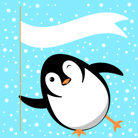 Penguin slides on the ice, winks, holds a flag with space for text. Vector cartoon illustration