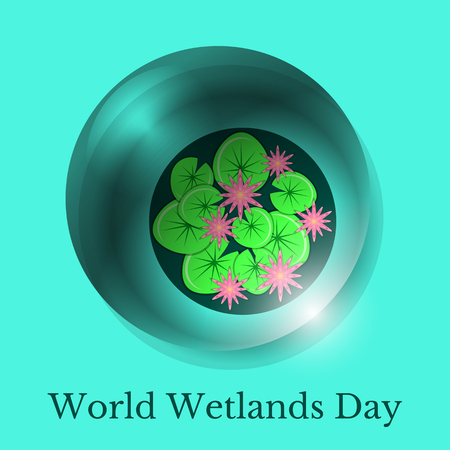 World Wetlands Day. Ecological event. Protection of Nature. A drop of water and the surface of the swamp with water lilies