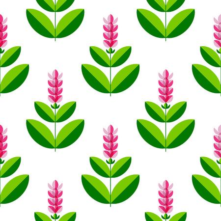 Turmeric, curcuma Plant with a flower. Stylized illustration. Seamless pattern