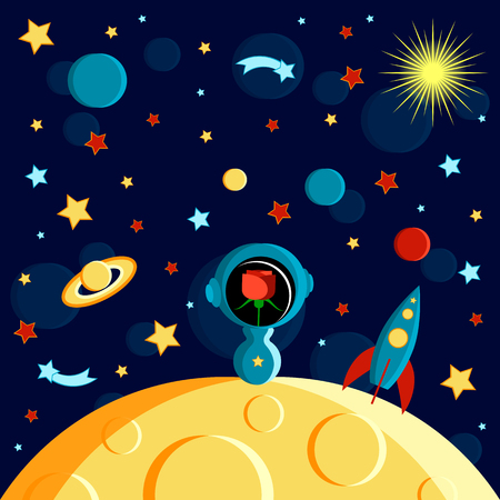 Rose in a spacesuit on the moon. Moon, Sun, Saturn, Earth, other planets, rocket Stars comets space Cartoon style Foto de archivo - 125298473