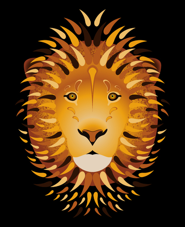 Lion portrait. Vector illustration of the head and mane of the animal. Cartoon style. Black background