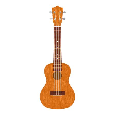 Ukulele Hawaiian guitar. From brown wood. Realistic vector illustration Foto de archivo - 124783528