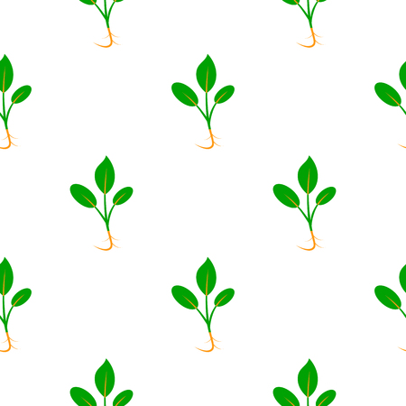 Microgreens. Sprouting seeds of a plant. Seamless pattern. Vitamin supplement, vegan food. Isolated on white. Symmetrical arrangement Stock Vector - 124992809