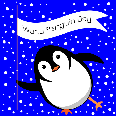 World Penguin Day. Vector cartoon illustration. Penguin slides on the ice, winks, holds a flag with the name of the event Foto de archivo - 124696597