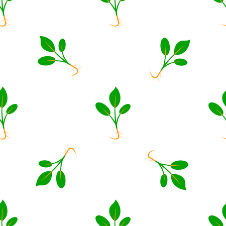 Microgreens. Sprouting seeds of a plant. Seamless pattern. Vitamin supplement. Isolated on white Stockfoto - 124992814